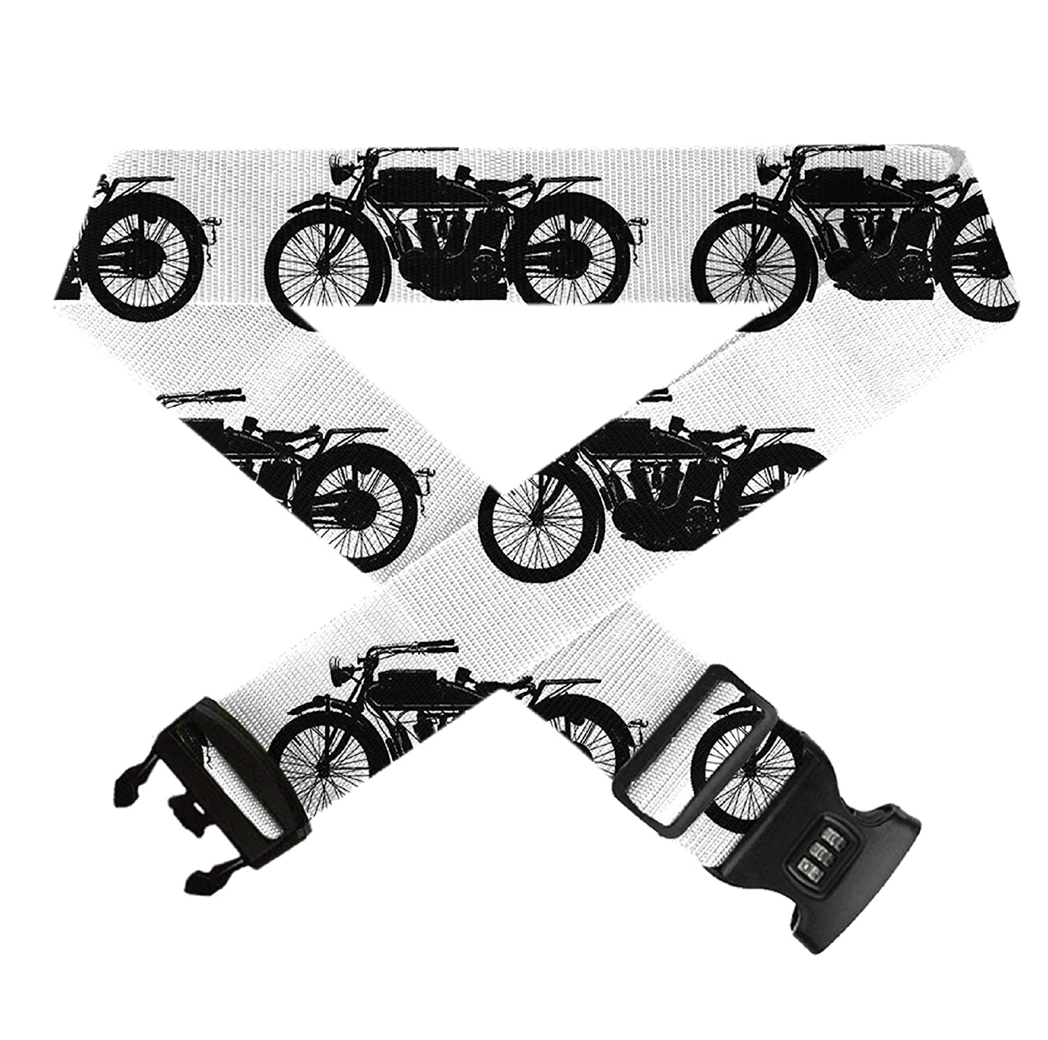 Luggage Straps Adjustable Suitcase Belts with 3 Dial Digit Combination Travel Bag Accessories Cool Crazy Antique Motorcycle Pattern