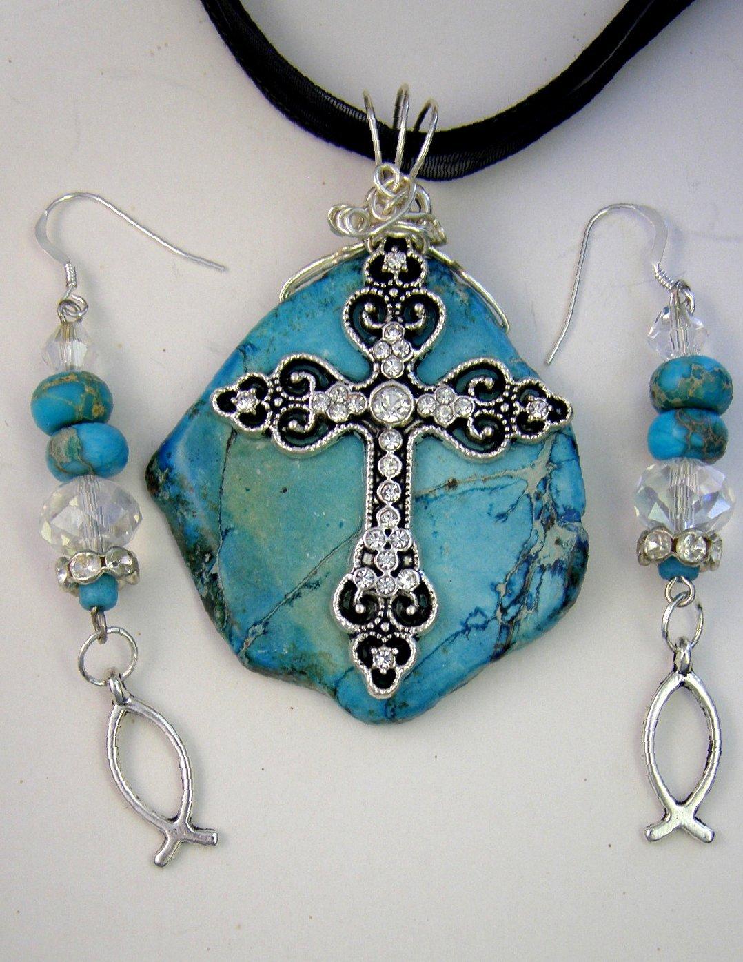 Amazon Christian Turquoise Gemstone Cross Pendant Necklace And