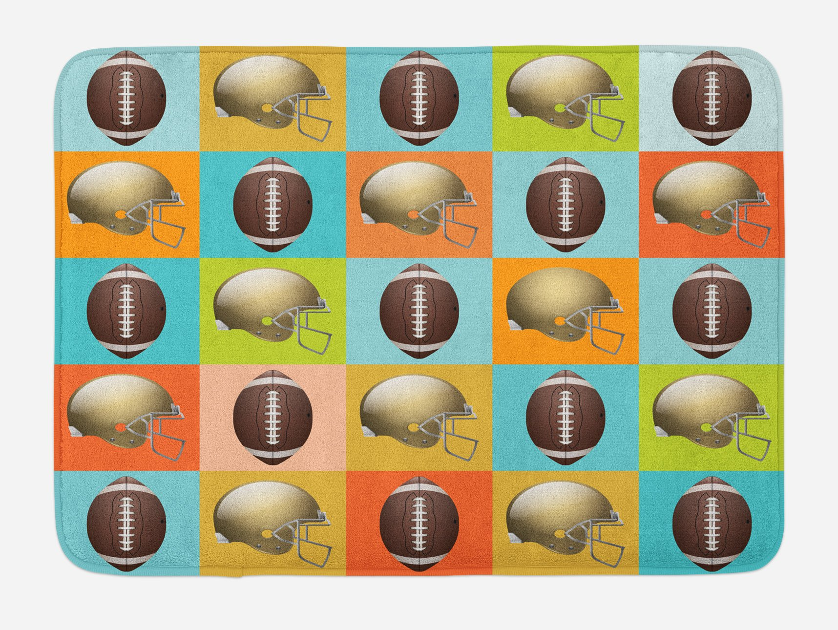 Lunarable Football Bath Mat, Colorful Squares Mosaic Pattern of Protective Equipment and Balls College Activity, Plush Bathroom Decor Mat with Non Slip Backing, 29.5 W X 17.5 W Inches, Multicolor