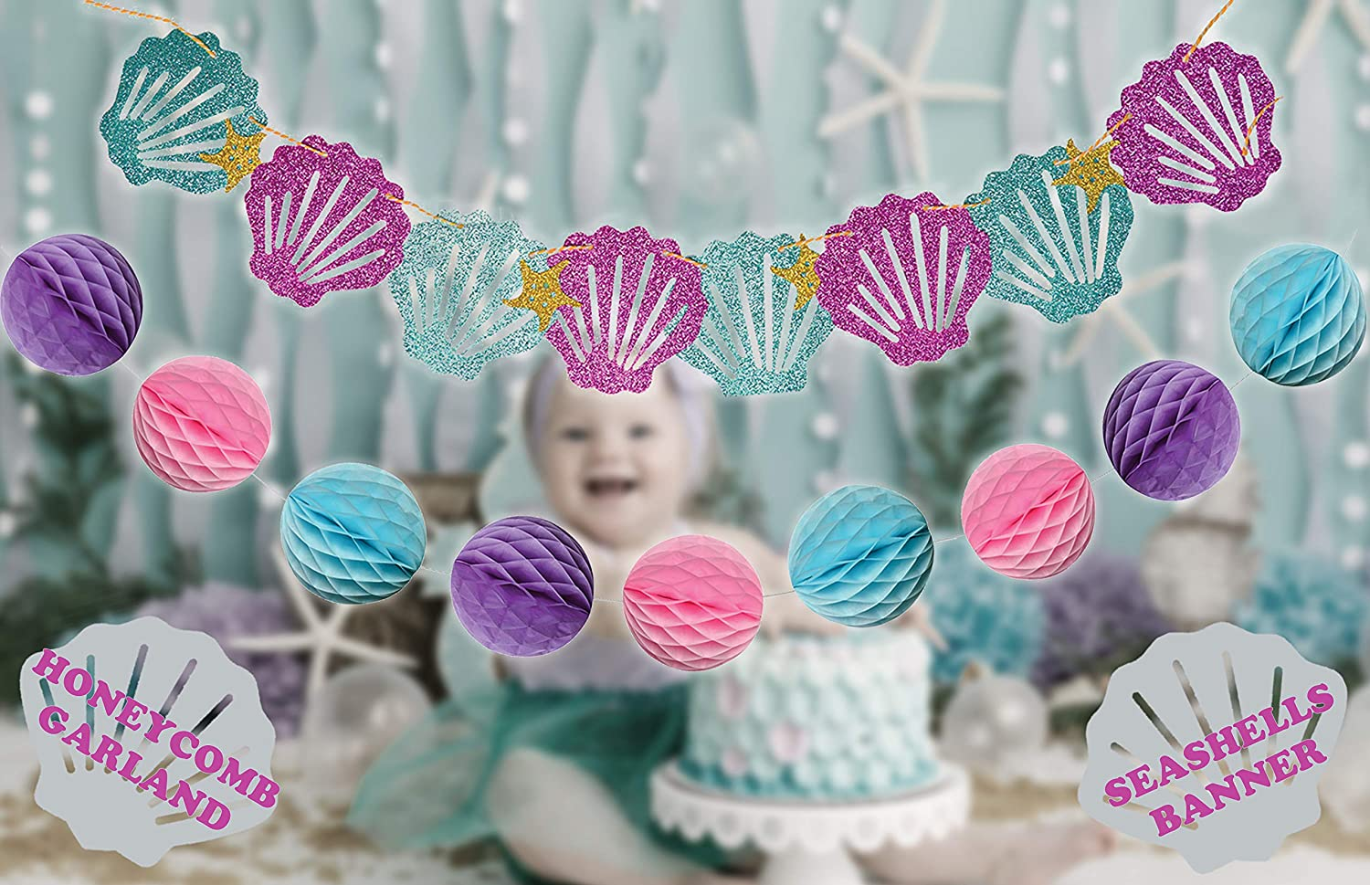 Bridal /& Baby Shower Themed Lets Be Little Mermaids Party Mermaid Tails Under The Sea Decorations Supplies Kit for Birthday Premium Quality by PomPomGLAM Bridal /& Baby Shower Themed Let/'s Be Little Mermaids Party Premium Quality by PomPomGLAM