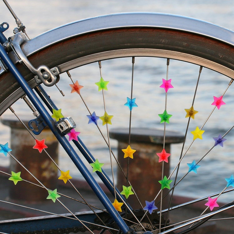 Clips para los radios de la bicicleta con forma de estrellas de colores (35 unidades aproximadamente): Amazon.es: Deportes y aire libre
