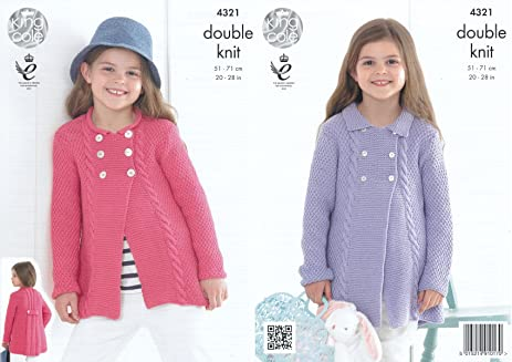 Amazon King Cole 4321 Knitting Pattern Girls Cardigans To Knit