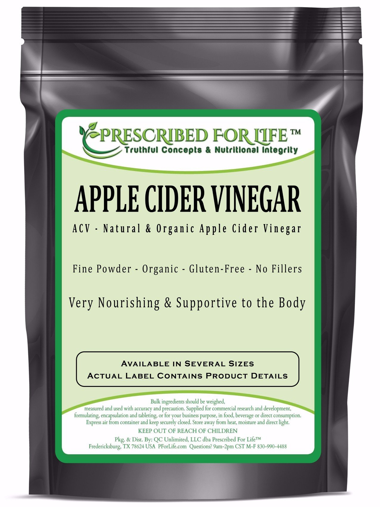 Apple Cider Vinegar - Organic Spray Dried ACV Powder - 5% Acetic Acid (Malus pumila - Mill.), 1 kg by Prescribed For Life