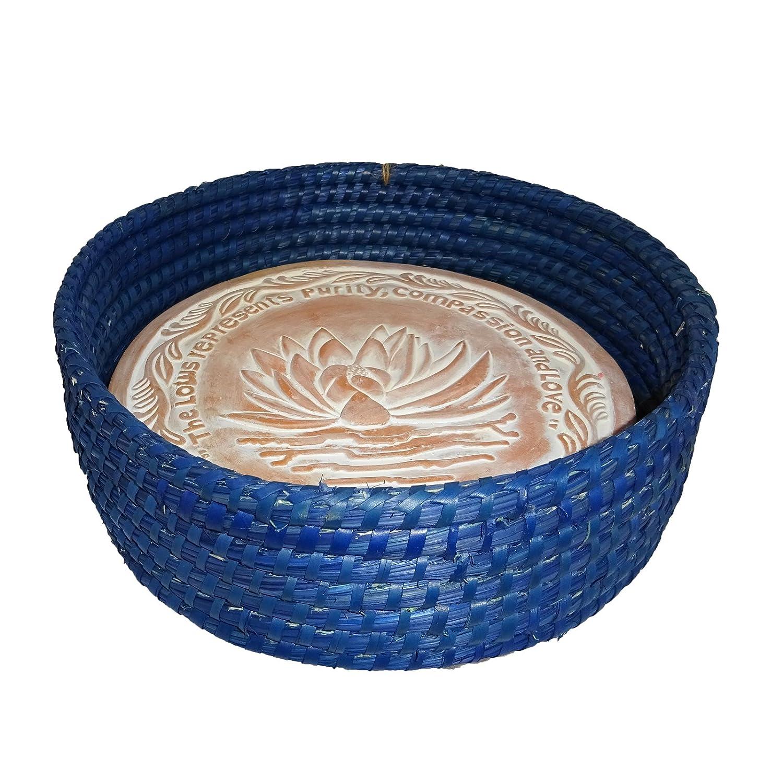 Handwoven Bread Roll Basket w Lotus Terracotta Warming Tile Stone 11 Inch Width (Cobalt Blue)