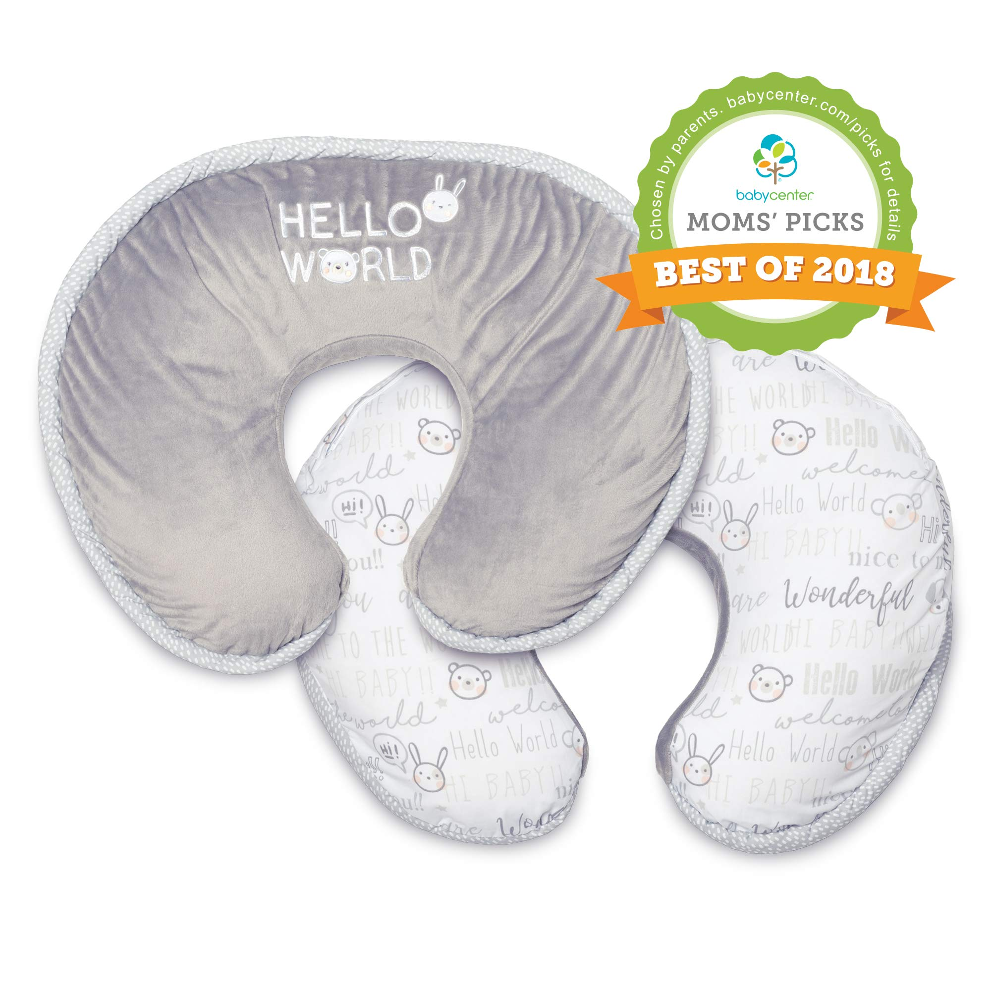 Boppy Luxe Nursing Pillow and Positioner, Hello World, Ultra-soft minky fabric on one side with adorable appliqué and coordinating piping by Boppy