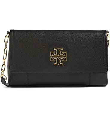 aef0a9dc0 TORY BURCH Britten Fold over Crossbody Bag Leather Women's Handbag (Black):  Handbags: Amazon.com