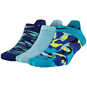Nike No Show Socks 3PPK Dri Fit Graphic N Calcetines, Mujer, Azul/Lima / Negro (DRB/(VLT)/CP/(WH)/BL/(BK), S: Amazon.es: Deportes y aire libre