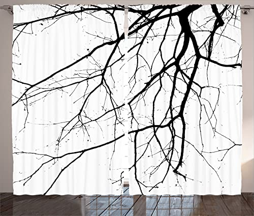 Ambesonne Black and White Curtains, Macro Leafless Winter Tree Branches Idyllic Twigs of Oak Nature Print, Living Room Bedroom Window Drapes 2 Panel Set, 108 X 84 , Black and White