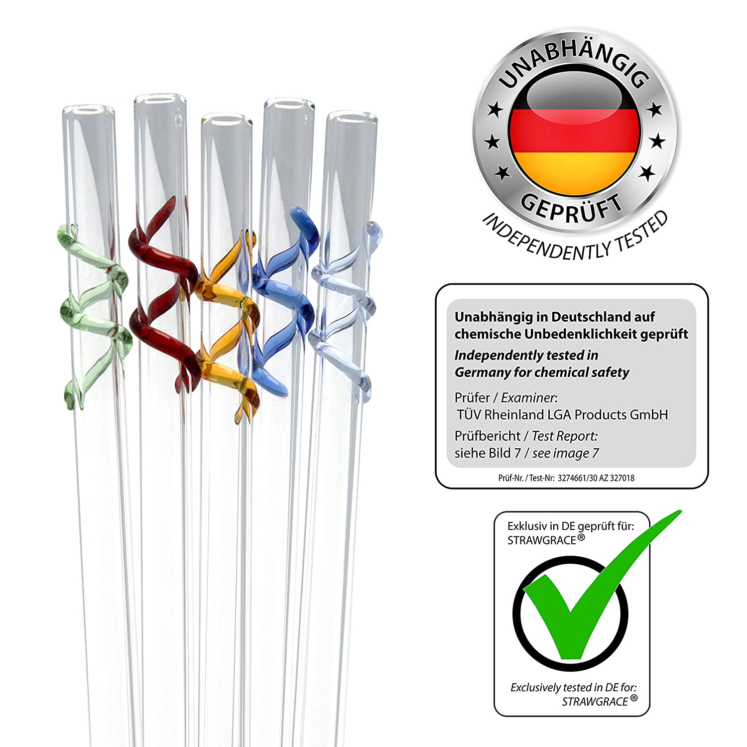 Reusable Set of 5 with 2 Brushes Free of BPA - 23 cm x 10 mm Straight Ideal for Smoothie etc independently tested in DE STRAWGRACE Handmade Glass Straws Healthy Glass Drinking Straws