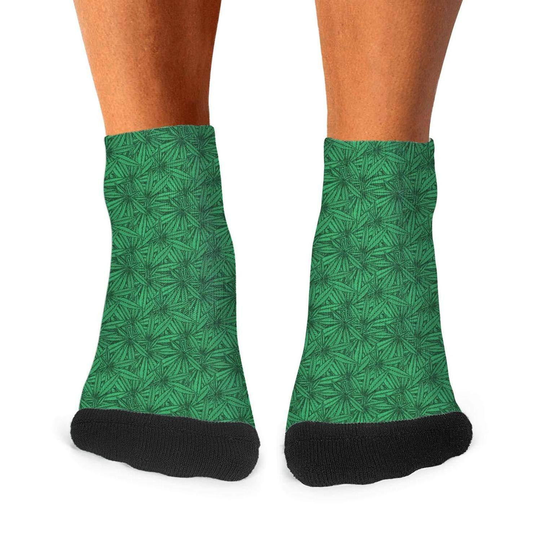 Floowyerion Mens Green Cannabis Leaf Novelty Sports Socks Crazy Funny Crew Tube Socks