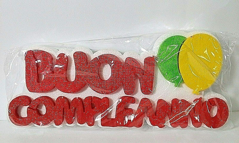 Polian Buon Compleanno con Palloncini Scritta POLISTIROLO Glitter 34x12x4 cm Party Festa