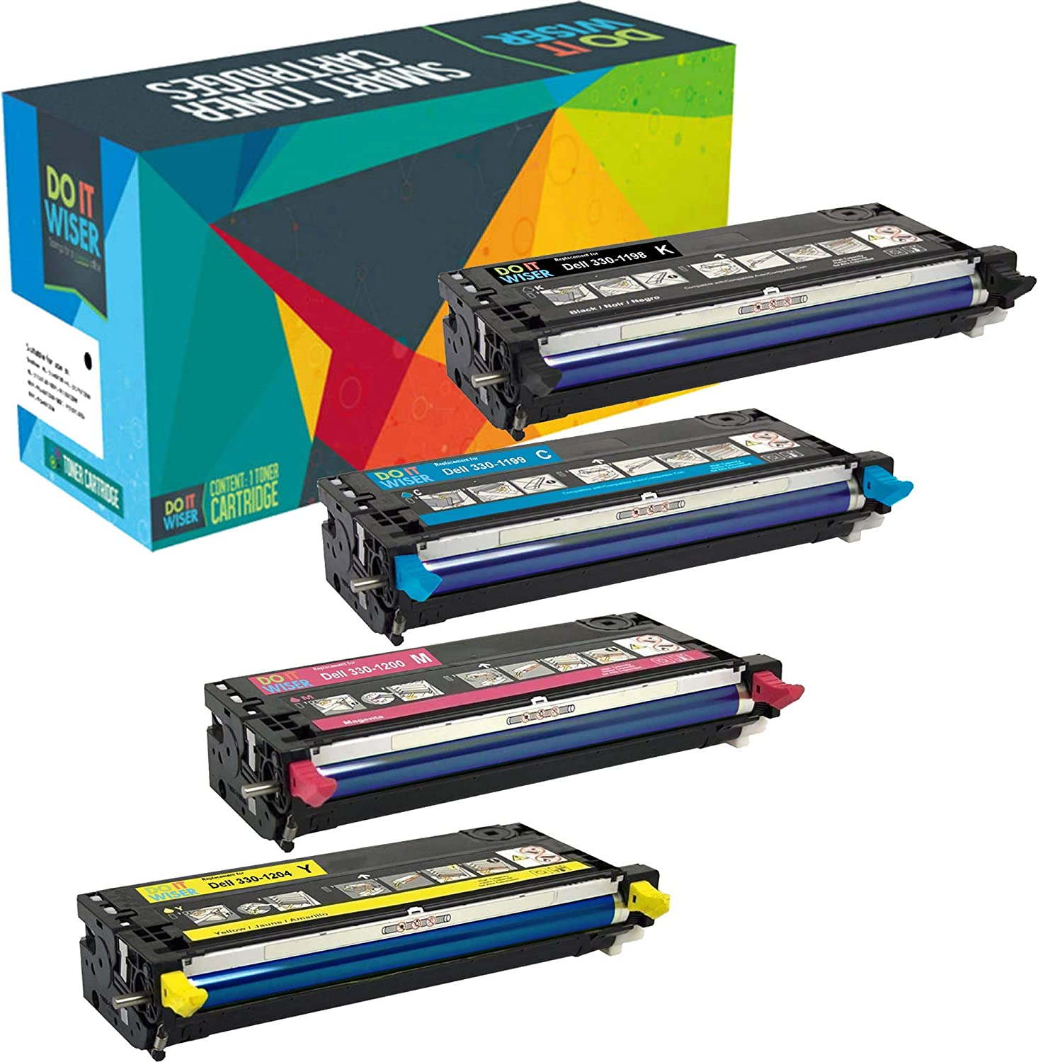 Do it Wiser Compatible Toner Cartridge Replacement for Dell 3130 3130cn 3130cdn - 4-Pack High Yield