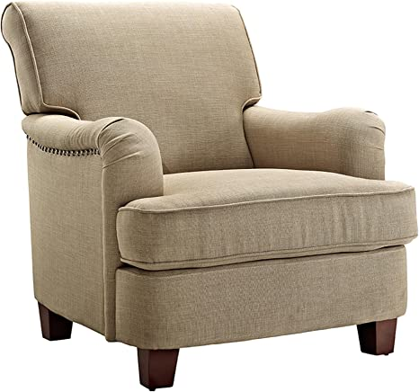 Amazon Com Dorel Living Rolled Top Club Chair Nailheads Oatmeal Furniture Decor