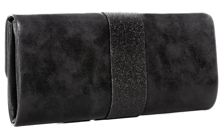 28/x 11/x 5/cm poches poches en simili cuir effet topmodischer paillettes Bandouli/ère 120/cm Clutch sous les bras avec cha/îne amovible le soir B x H x T VINCENT PEREZ