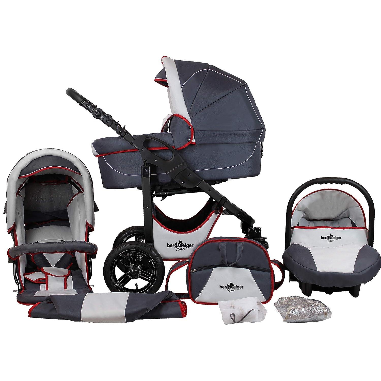 Bergsteiger Capri Kinderwagen 3 in 1 Kombikinderwagen Megaset 10 teilig inkl Sportwagen und Zubeh/ör Babywanne Babyschale
