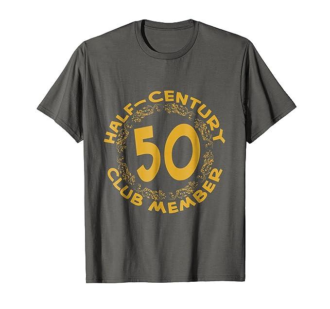 Mens 50th Birthday Party Anniversary T Shirt Half Century Club 2XL Asphalt