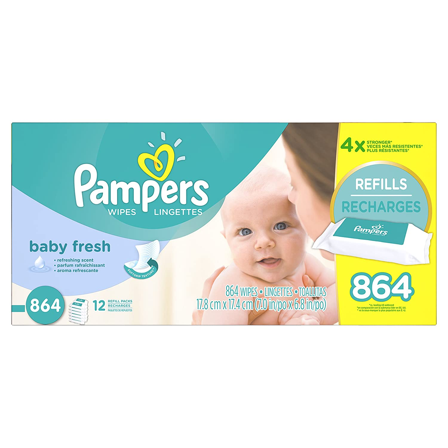 Pampers Baby Fresh Water Baby Wipes 12X Refill Packs, 864 Count 37000836759