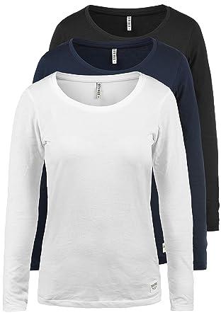 43137cd83a DESIRES Lavinia Damen Longsleeve Langarm Shirt Mit Rundhalsausschnitt 3er  Pack, Größe:XS, Farbe