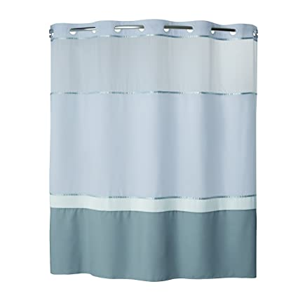Hookless RBH40MY026 Color Block Shower Curtain With Peva Liner