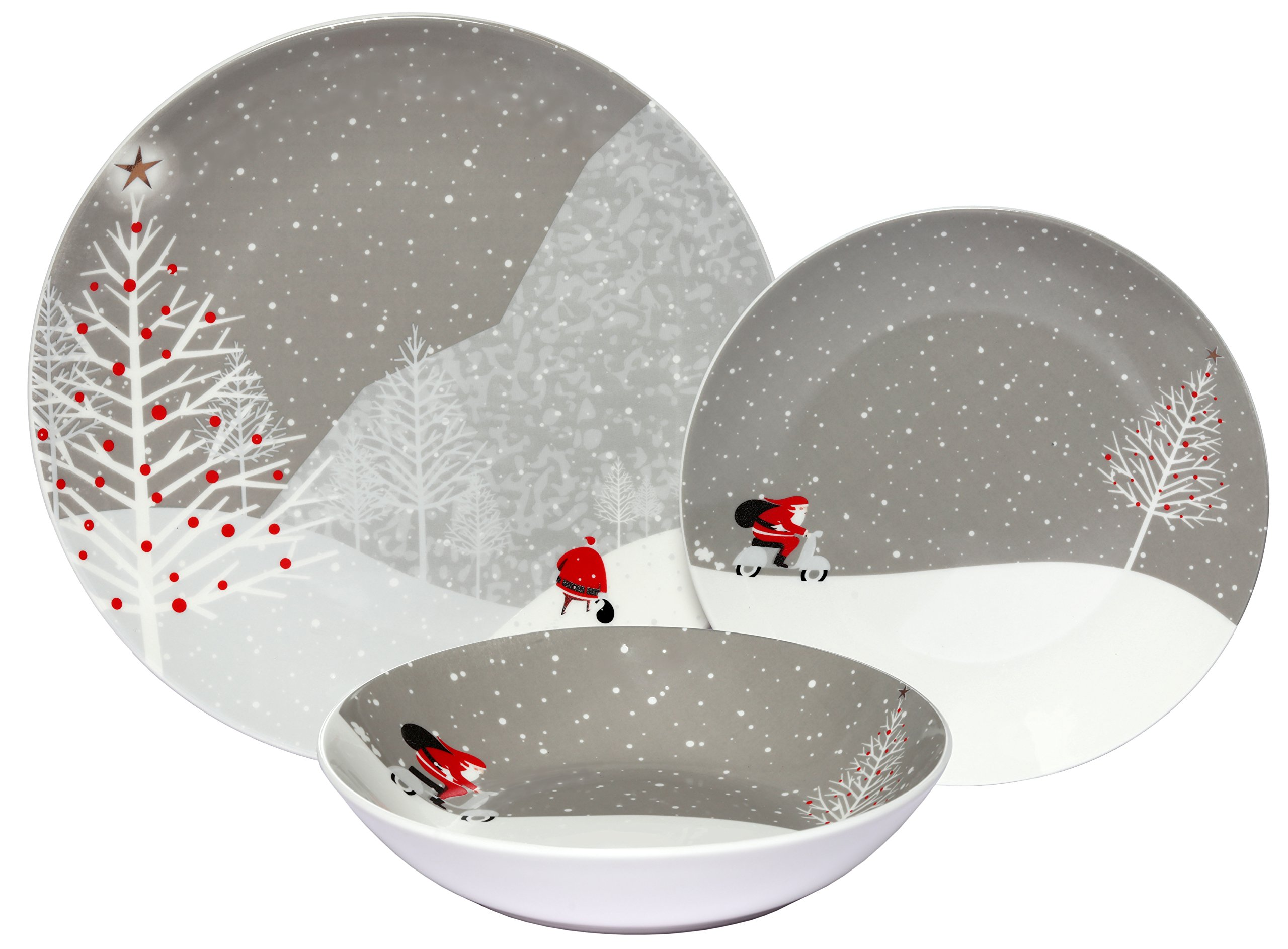 Melange Coupe 36-Piece Porcelain Dinnerware Set (Santa Comes Home) | Service for 12 | Microwave, Dishwasher & Oven Safe | Dinner Plate, Salad Plate & Soup Bowl (12 Each)