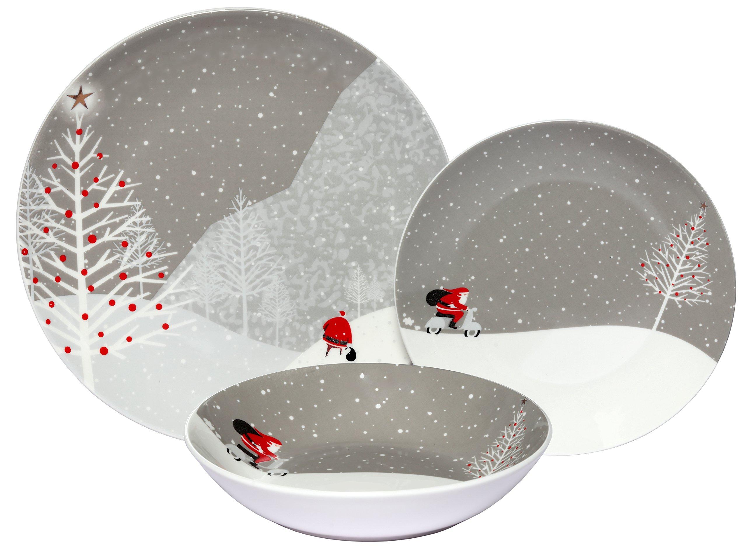 Melange Coupe 36-Piece Porcelain Dinnerware Set (Santa Comes Home) | Service for 12 | Microwave, Dishwasher & Oven Safe | Dinner Plate, Salad Plate & Soup Bowl (12 Each) by Melange