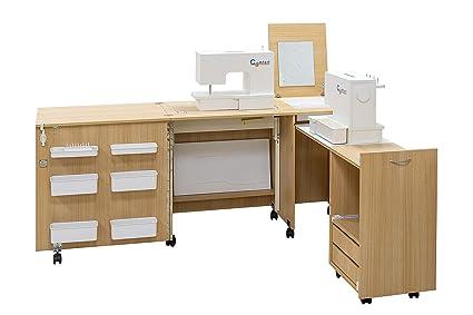 Comfort 3 Table Pour Machine A Coudre Oak Kendal Cognac Xl Air Lifter To 20kg