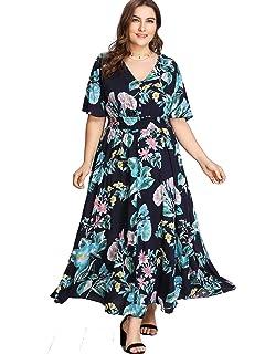 b7cbb062ffa Milumia Women Plus Size Floral Party Homecoming Button up Split Flowy Maxi  Dress