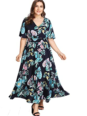 Milumia Plus Size Short Sleeves Button up Maxi Dress Floral Print Boho Fit  Flare A Line Dress