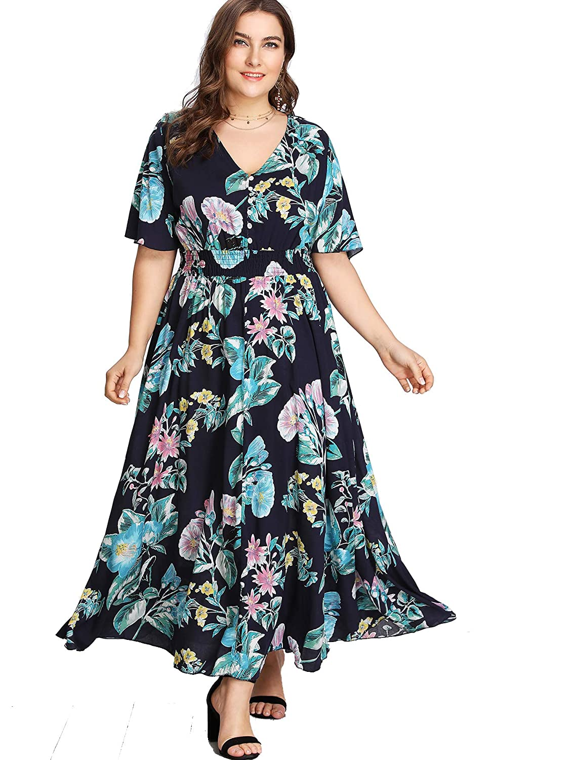 2732fcabcd322 Milumia Plus Size Button up Dress Short Sleeves Floral Maxi Dresses Boho  Fit Flare A Line Dress at Amazon Women s Clothing store