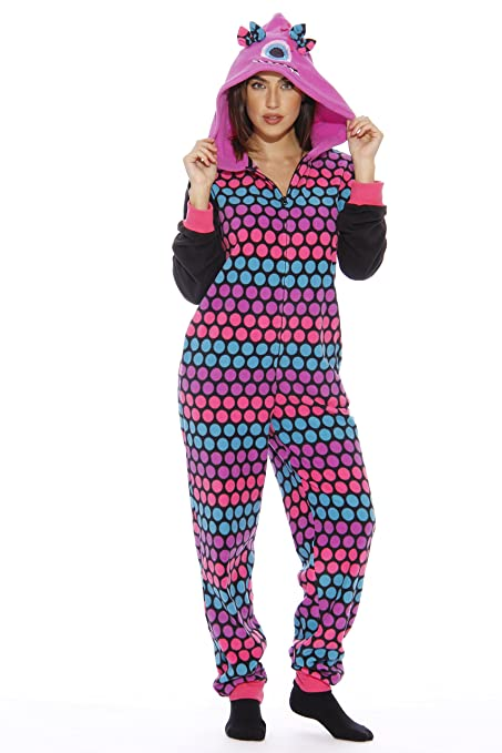 Cute Monster Hoodie Dots Ladies Adult Size One Piece Pajamas for Women 5948d798c