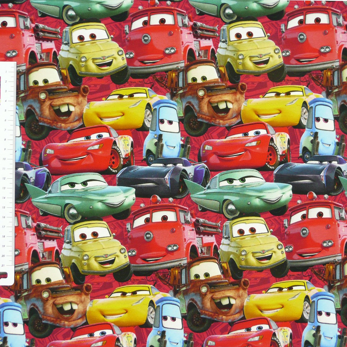 Jersey Disney Cars Autos rot gelb blau braun Digitaldruck 1,5m Breite