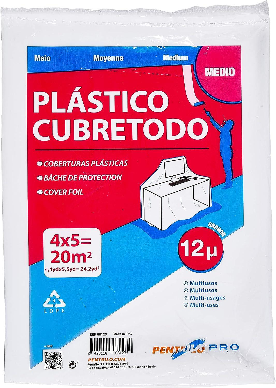 PENTRILO 08123 Plástico Cubretodo Protector Multiuso 4X5Metros Medio, 4x5m, Transparente
