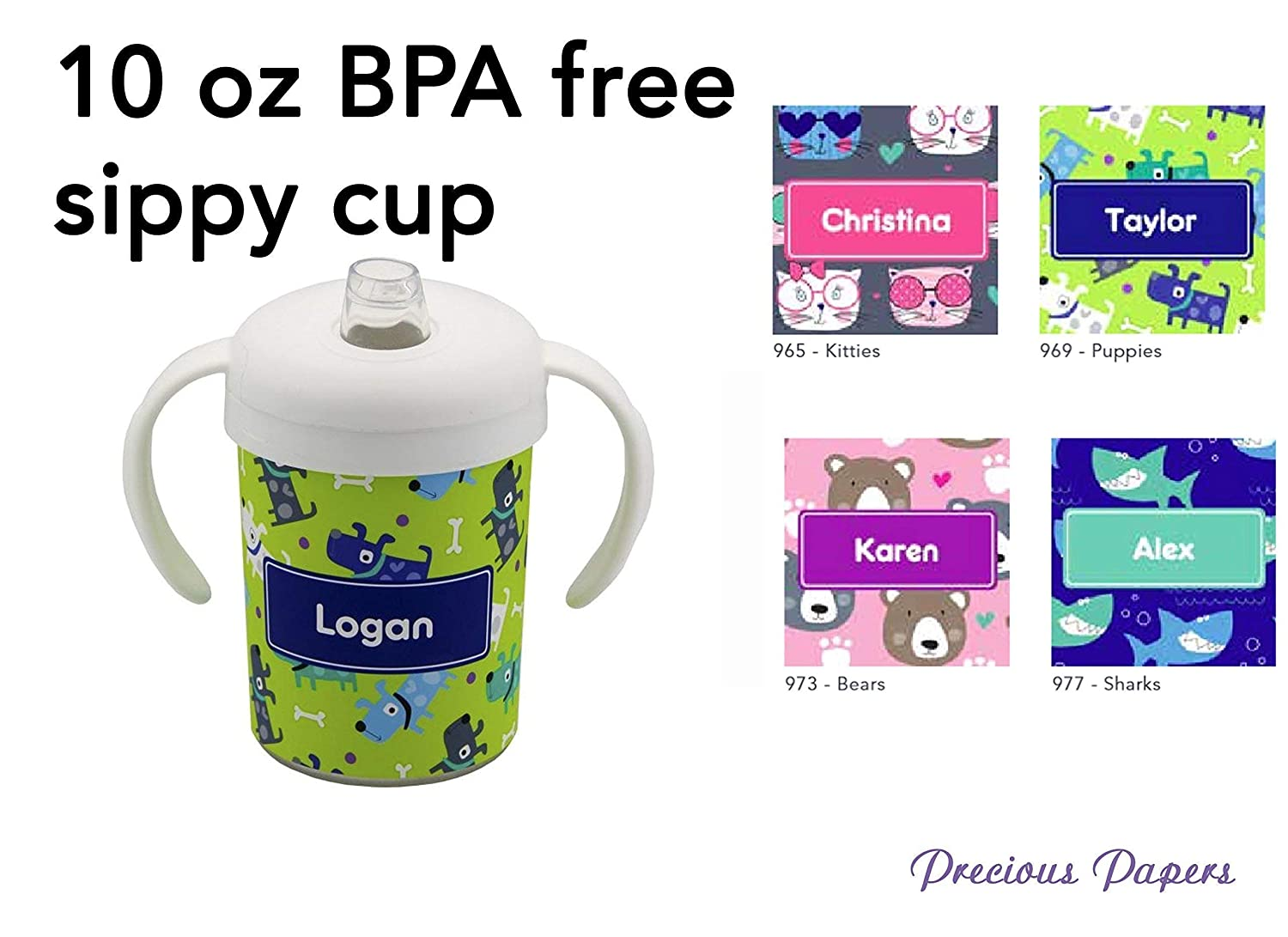 Personalized Sippy Cups Kids Shark Bear Dog Cat Kids Cups with Handles 10oz