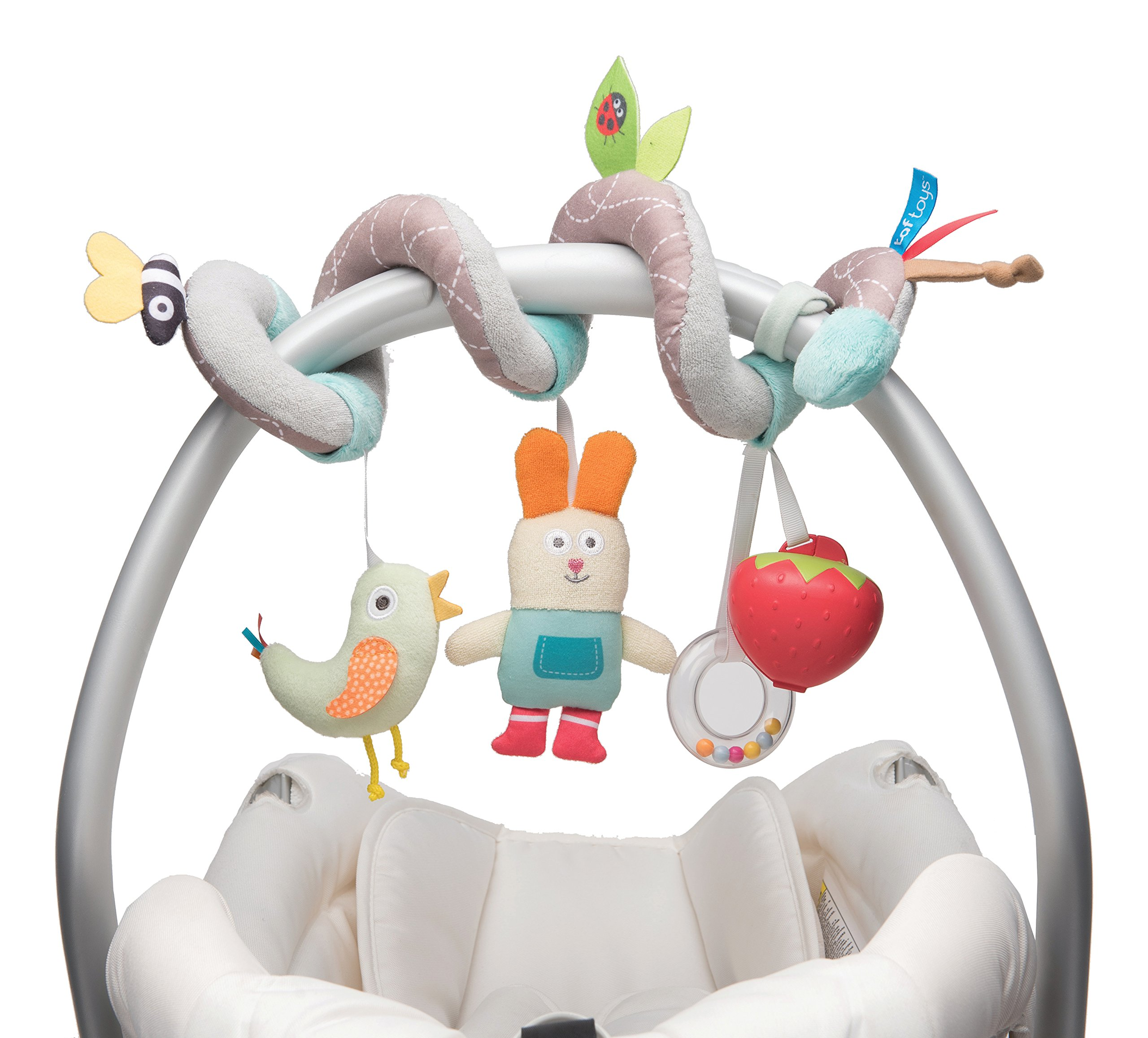 Taf Toys Garden Spiral | Baby's Fun Accessory for Car Seat & Pram Etc, Hanging Rattling Toys, Easier Parenting, Keeps Your Baby Happy, Ideal Gift, Soother Strawberry Shape Case, for Easier Outdoors