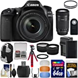Canon EOS 80D Wi-Fi Digital SLR Camera & 18-135mm IS USM with 55-250mm IS STM Lens + 64GB Card + Battery & Charger + Backpack + Tripod + 2 Lens Kit