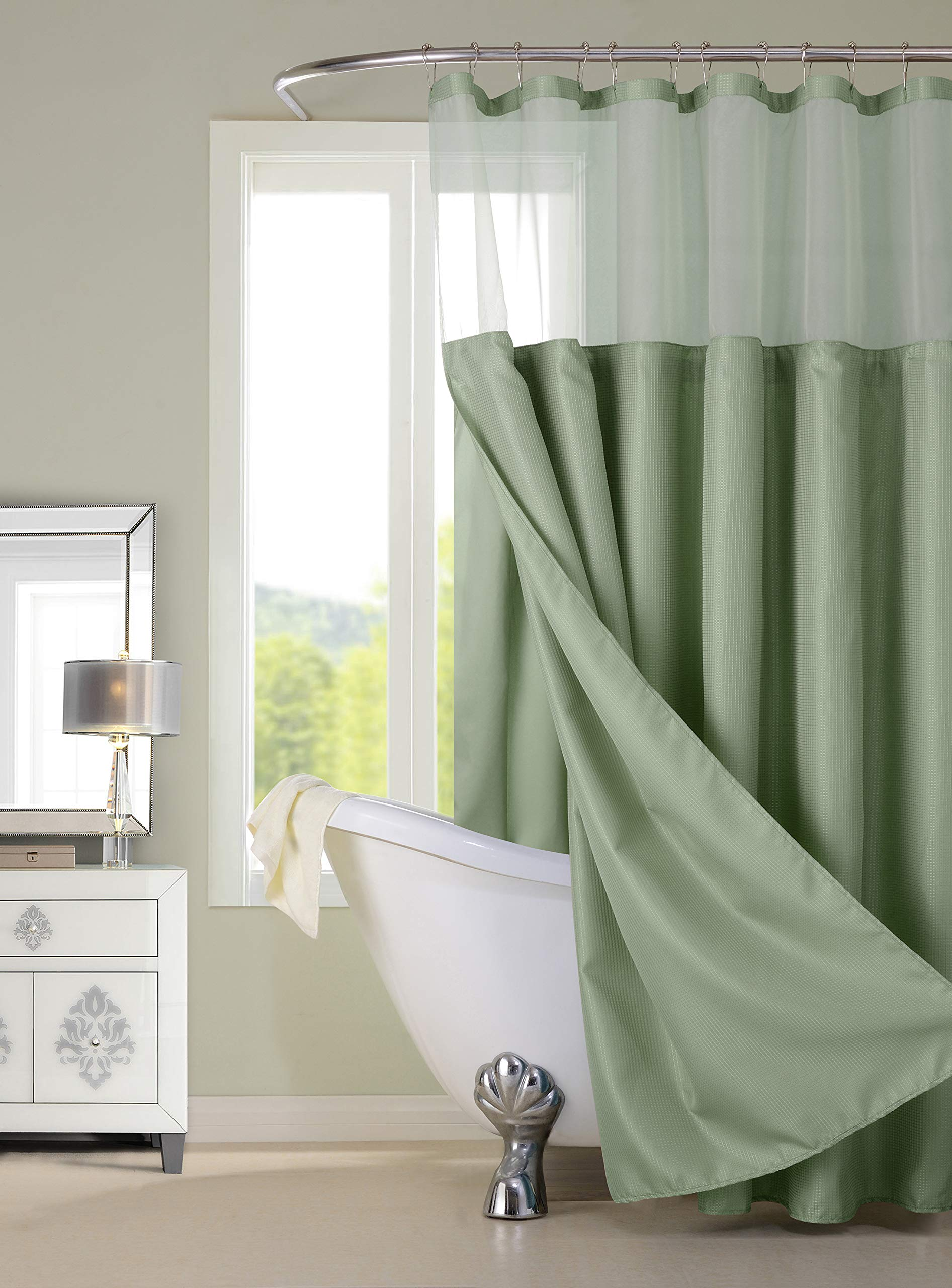 Dainty Home CSCDLSA Complete Waffle Shower Curtain with Detachable Liner, 70x72'', sage