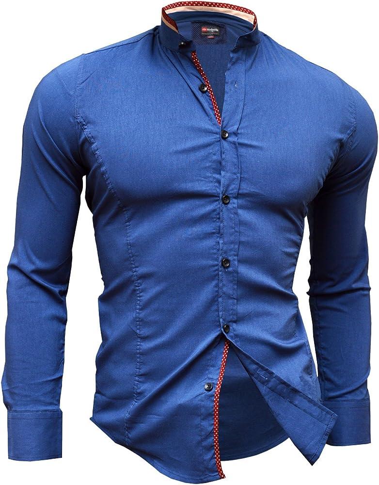 Camisa Casual Formal Cuello Alto Slim Fit Cierre decorativo Muchos colores azul Navy Blue and Beige L: Amazon.es: Ropa y accesorios