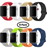 8 Pack Band for Apple Watch 38mm 42mm, Soft Silicone Sport Strap Replacement Bracelet Wristband for Apple Watch Series 3, Series 2, Series 1, Nike+, Edition, S/M M/L Size (Multicolor 2, 38 mm S/M)