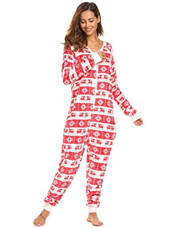 Vansop Women s Long Sleeve Fleece Onesie Pajama Christmas Print One Piece  Sleepwear 9052feb95