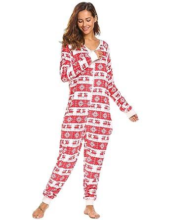 Vansop Women s Long Sleeve Fleece Onesie Pajama Christmas Print One Piece  Sleepwear 30a1fea155ba