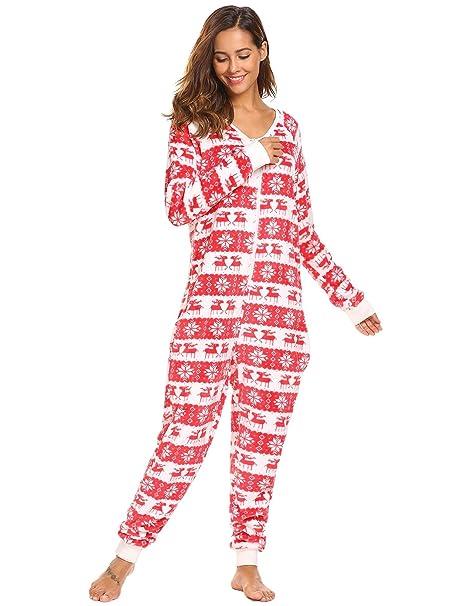 Caeasar Mujer de manga larga de lana Onesie pijama de Navidad Imprimir One Piece ropa de