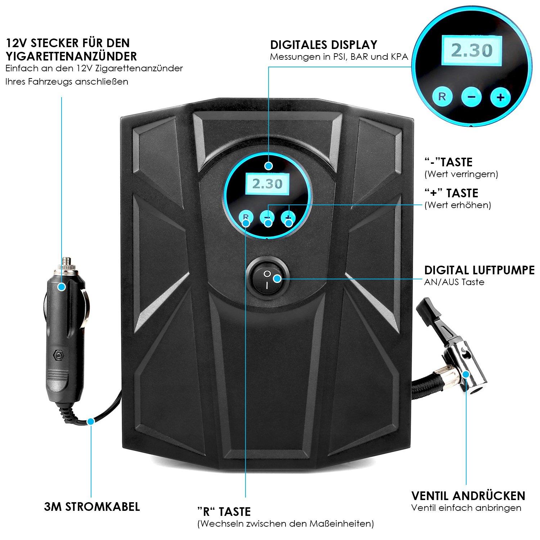 MVPOWER Compresor de Aire Compresor de Coche Inflador Portátil de Neumáticos con Pantalla Digital Bomba de Aire 12V Color Negro
