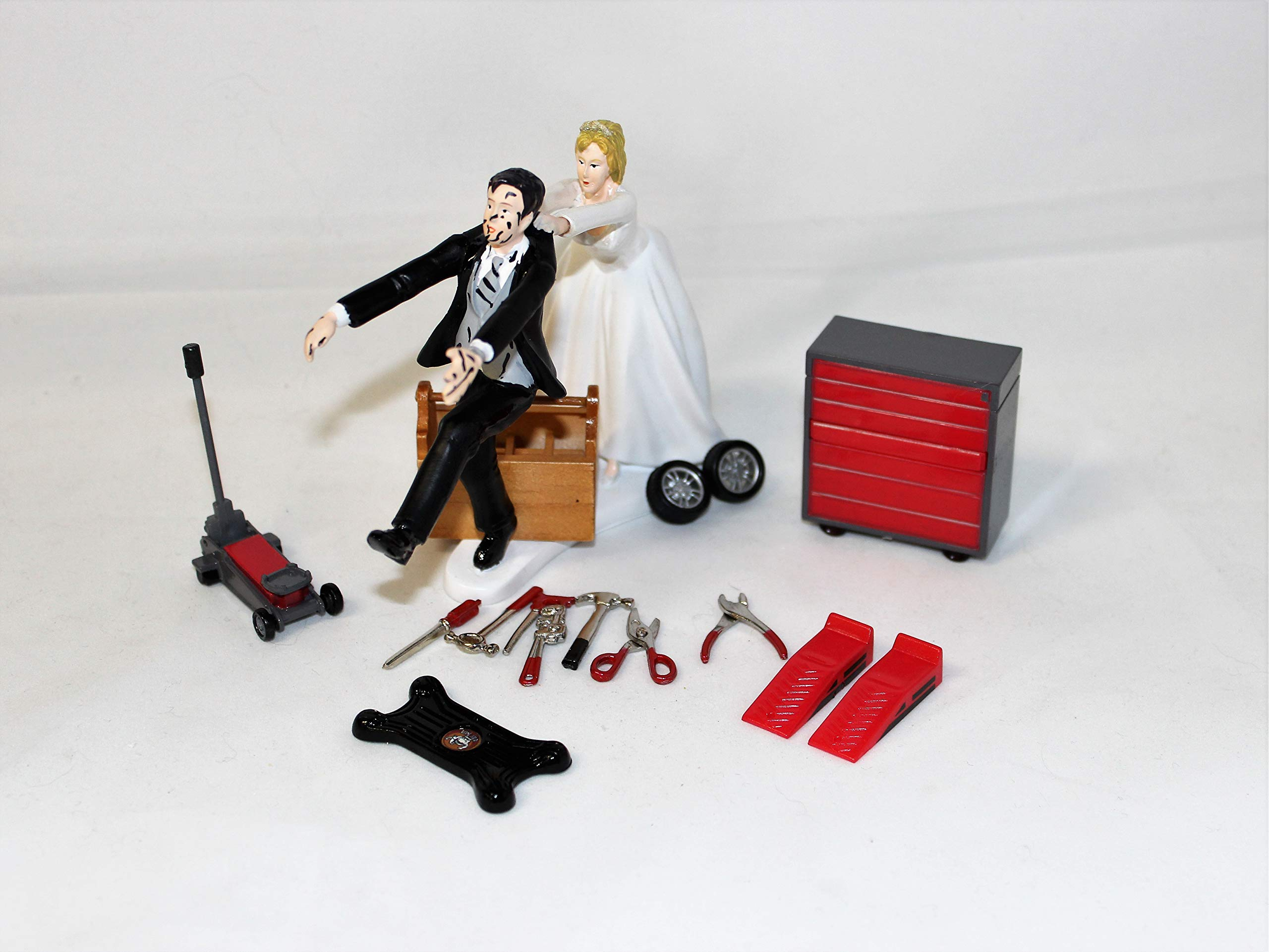 Wedding Reception Party Garage Back Yard Mechanic tool grease Cake Topper by Custom Design Wedding Supplies by Suzanne (Image #2)