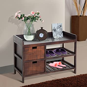 Festnight Wooden Shoe Rack Entryway Storage Bench Organizer with Drawer Brown
