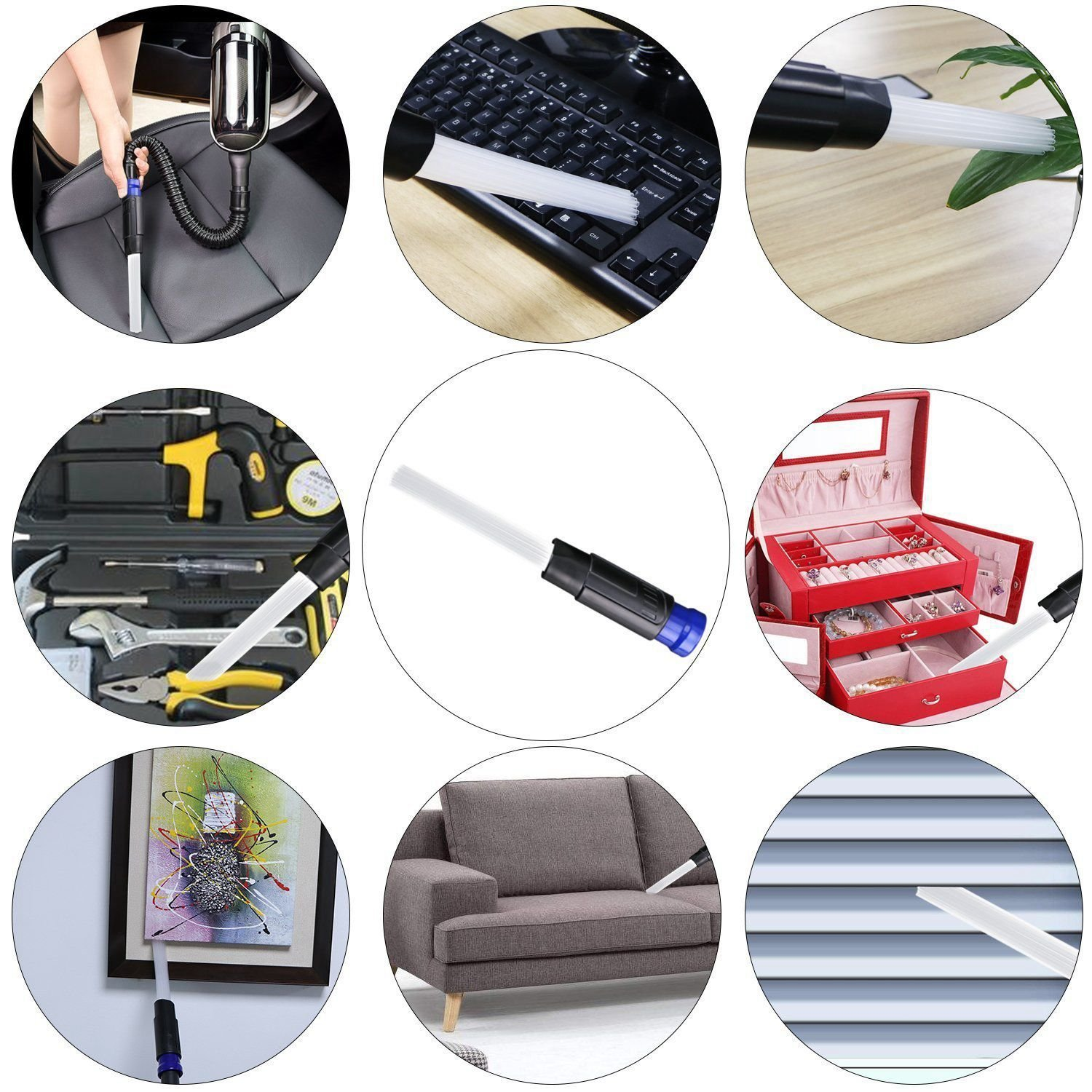 Small Suction Brush Tubes Flexible Access to Anywhere TOOGOO Vacuum Cleaner Dust Dirt Remover Universal Attachment Interface Tool Strong Suction for Corners Drawers Pets