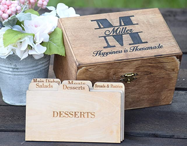 Personalized Recipe Card Box Personalized Gift Rustic Home Decor Recipe Holder Recipe Box Recipe Card Box