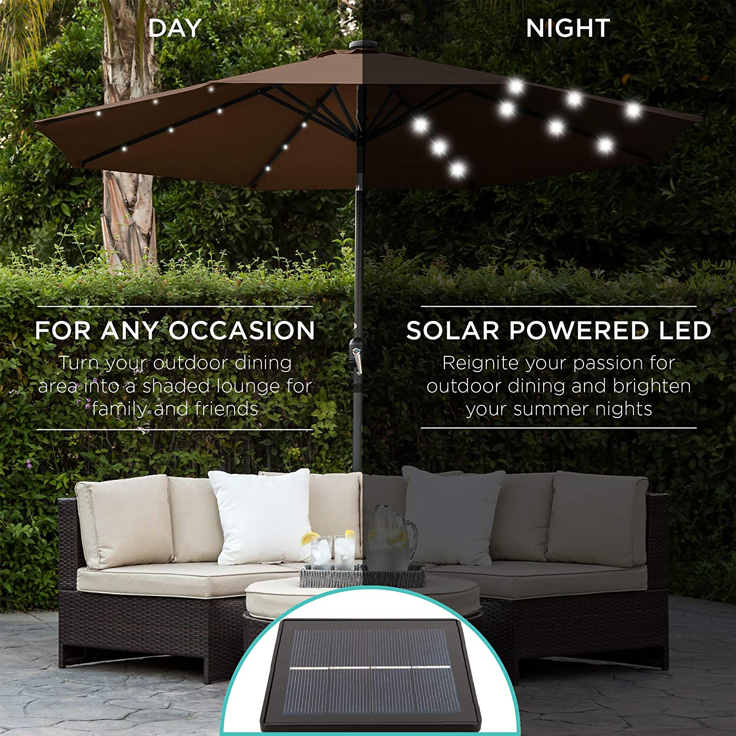 Fade-Resistant Fabric Black Best Choice Products 10ft Solar LED Lighted Patio Umbrella w//Tilt Adjustment