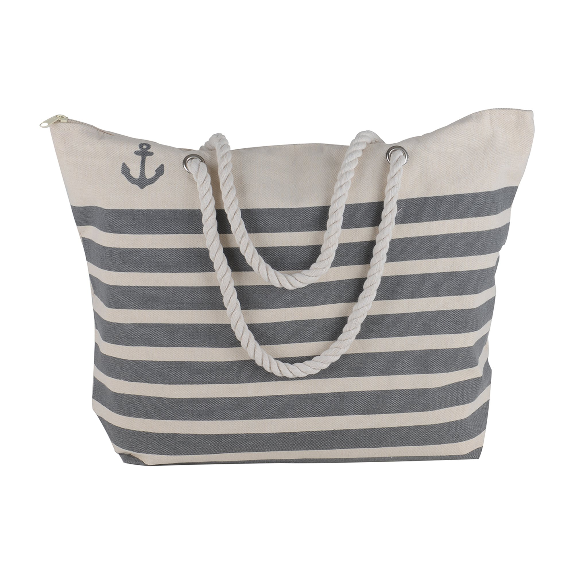 Canvas Heavy Cotton Rope Handles Stripe Zipper Closure Women Premium Straw Beach Tote Bag by BB (Grey) by BB (Image #1)