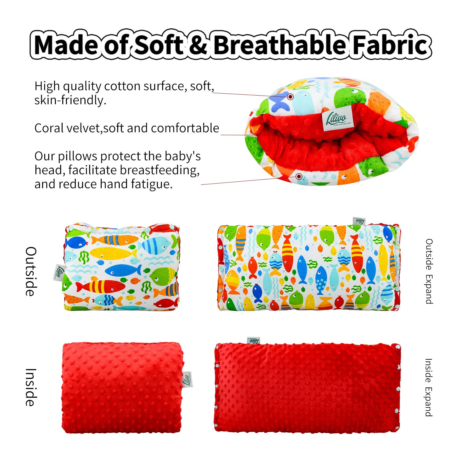 Infant Nursing Arm Pillow for Breastfeeding Portable Baby Care Accessories for C-Section Mom Red Bottle Feeding Newborn Head Support Slip-On Cushion Positioner with Burp Cloth /& Pouch Bag