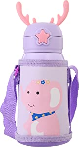 Kids Vacuum Insulated Water Bottle with Straw,20Ounce,Leak-Proof Stainless Steel Thermos for Children,Elephant Thermos